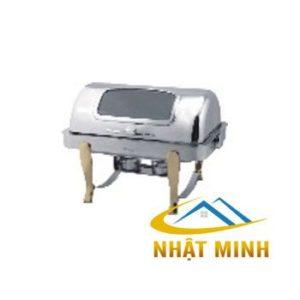 Nồi hâm nóng buffet chữ nhật 2 ngăn chân vàng inox nắp PC BFS61161-2