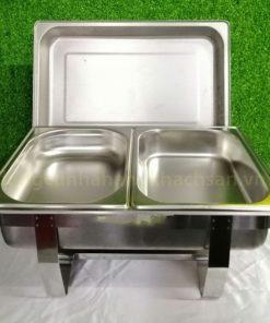 Nồi hâm buffet inox dày chữ nhật 2 ngăn giá rẻ BF771L63-2