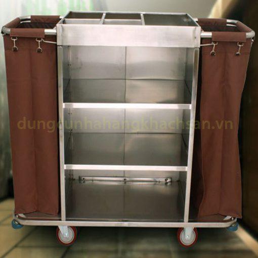 Xe dọn phòng inox 2 túi VS61X06-201