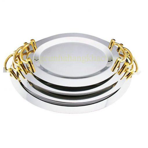 Khay trưng bày inox Oval vàng có tay nắm 122001