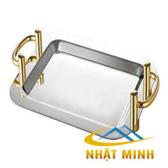 Khay trưng bày inox CN vàng có tay nắm 122103