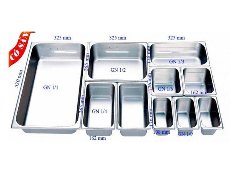 Kích thước khay gn được nhà sản xuất thống nhất và dựa theo tiêu chuẩn châu Âu