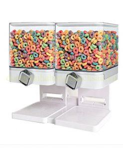 Bình đựng ngũ cốc 2 ngăn màu trắng BCD02W