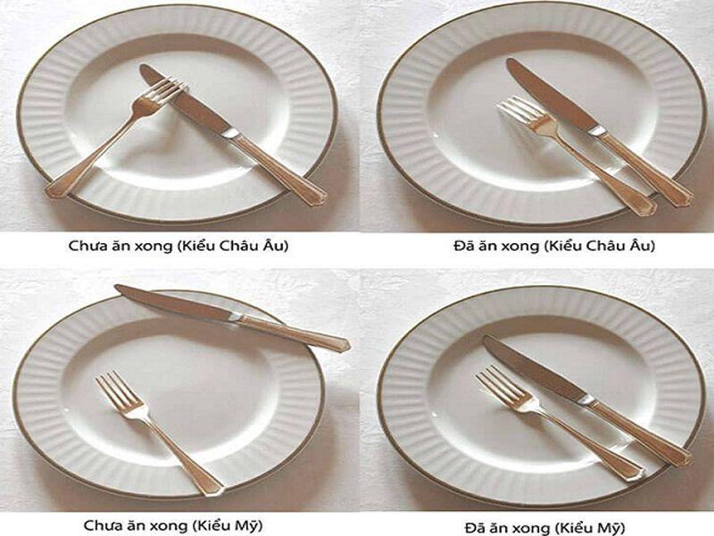 Vị trí của dao muỗng nĩa khi ăn xong