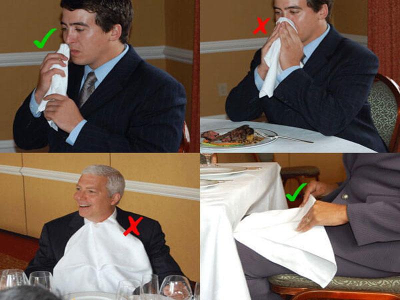 Vị trí đặt khăn ăn nhà hàng khách sạn