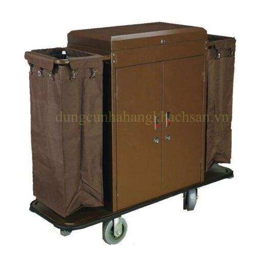 Xe dọn phòng sắt sơn 2 túi có Cửa VS61X05-3