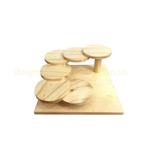 Khay gỗ trang trí bậc thang 6 tầng hình tròn NM-BF007