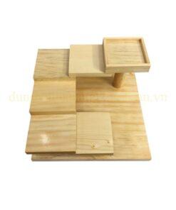Khay gỗ trang trí bậc thang 6 tầng hình vuông NM-BF008