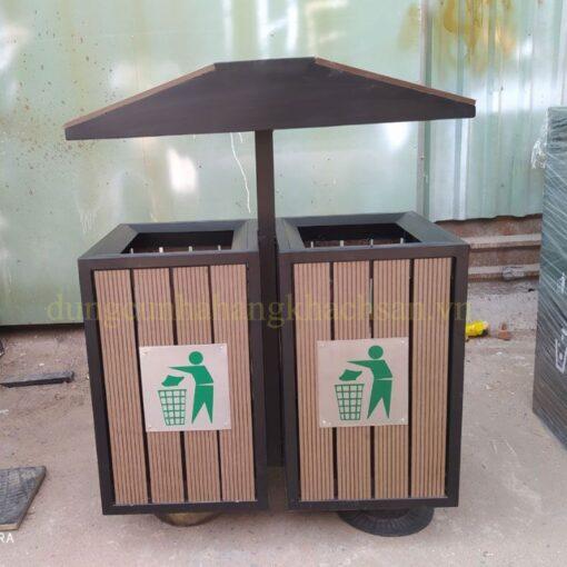 Thùng rác gỗ 2 ngăn ngoài trời NM-TS002