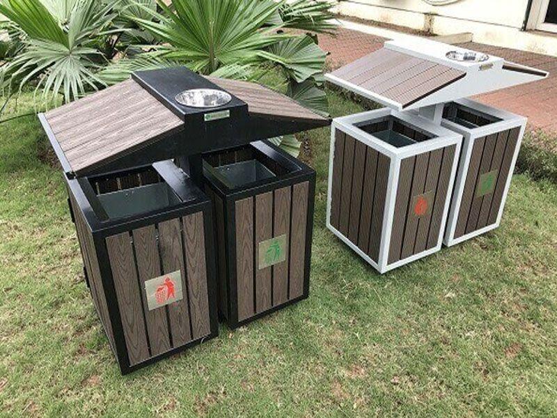 Thùng rác đôi có 2 ngăn phân loại rác vô cơ và hữu cơ