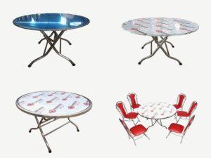 Một số mẫu kết hợp khi sử dụng bàn tròn inox tại nhà hàng khách sạn