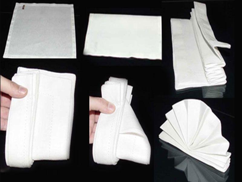 Cách gấp khăn ăn hình cánh quạt
