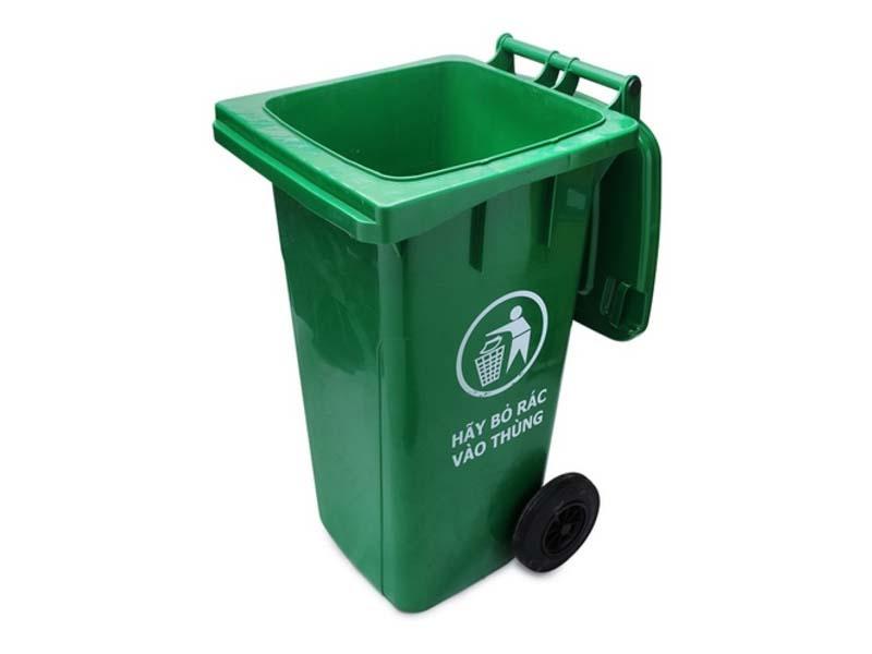 Thùng rác nhựa cao cấp có 2 bánh xe